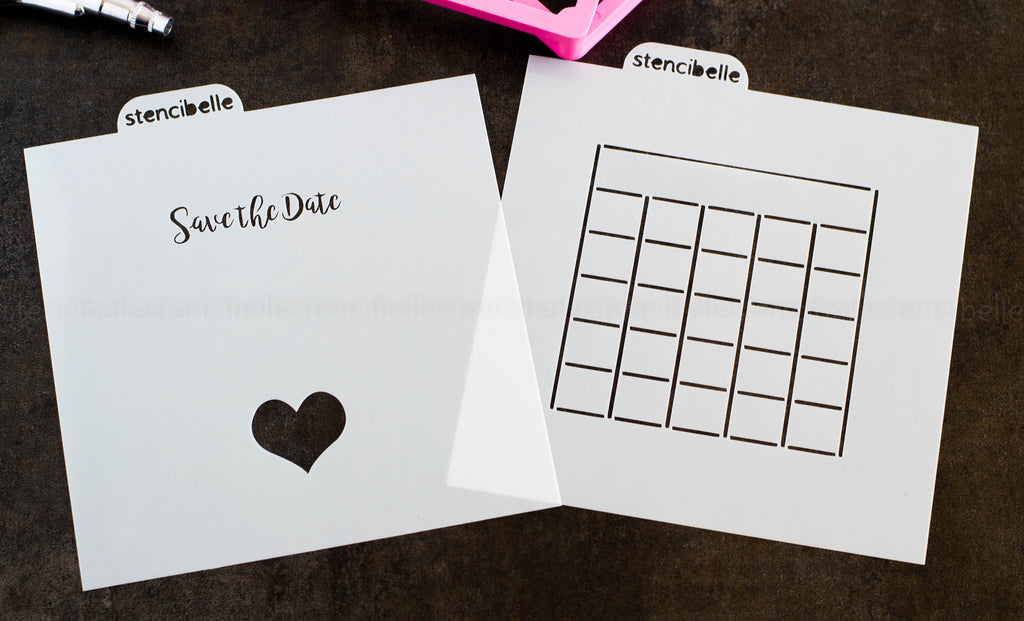Save the Date 2 Piece Stencil Set - 2 Sizes available