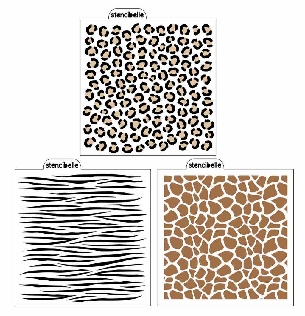 Animal Print Stencil Pack - 4 piece
