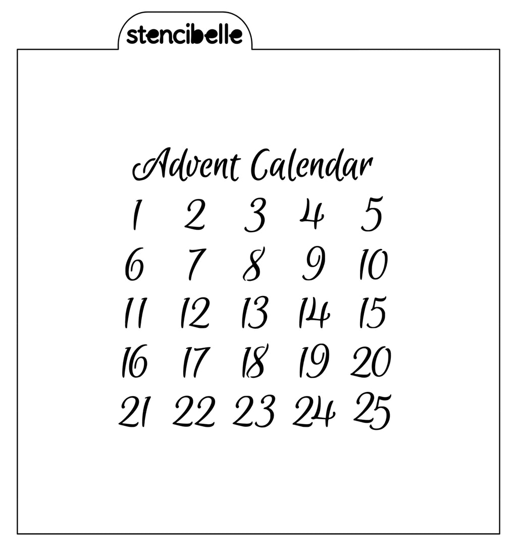 Advent Calendar Stencil - Matches 'Save the Date' Stencil Grid