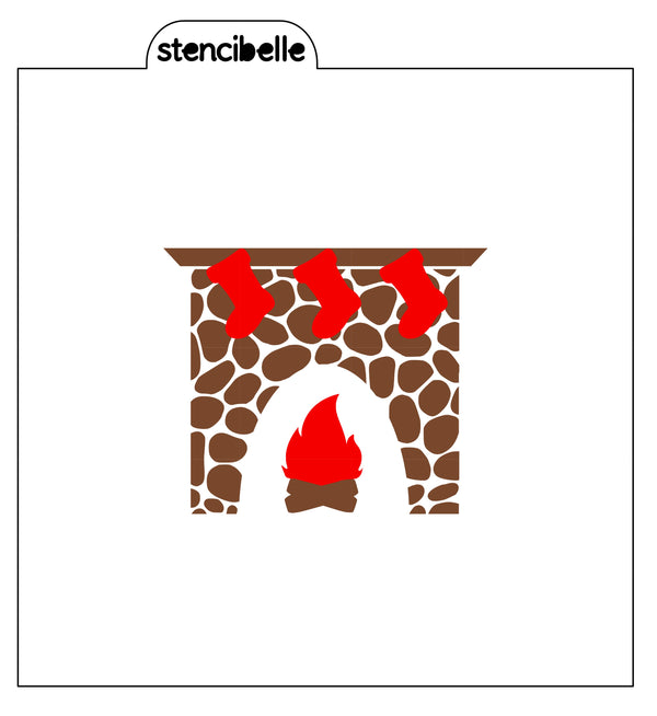 Christmas Fireplace Stencil - 2 piece