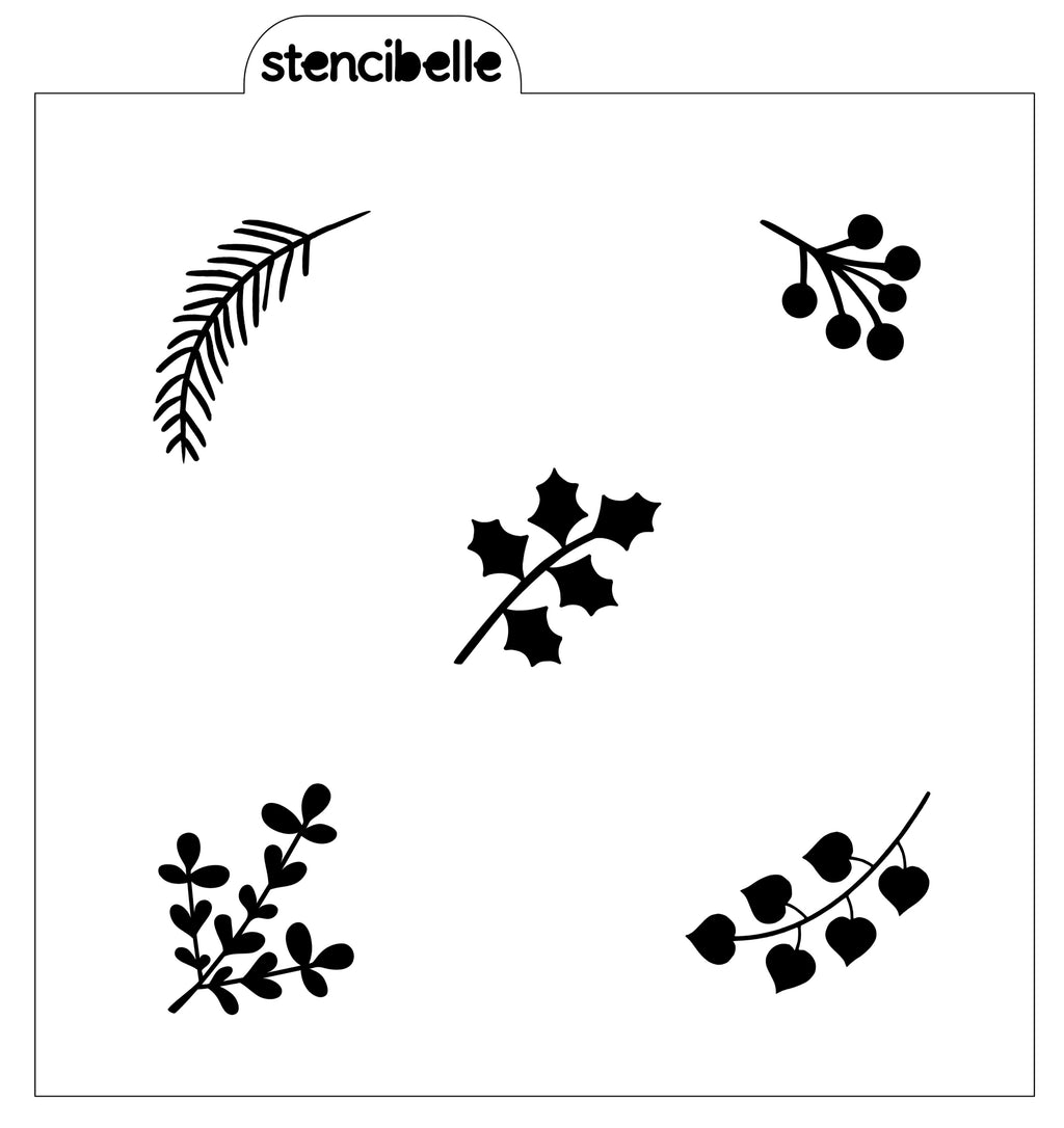 Christmas Leaf Elements Stencil - NOW AVAILABLE IN 2 SIZES