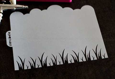 Clouds & Grass Stencil