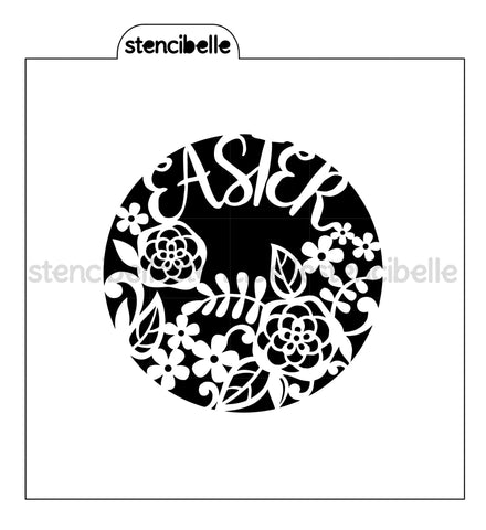 Easter Floral Circle Stencil - 2 Sizes Available