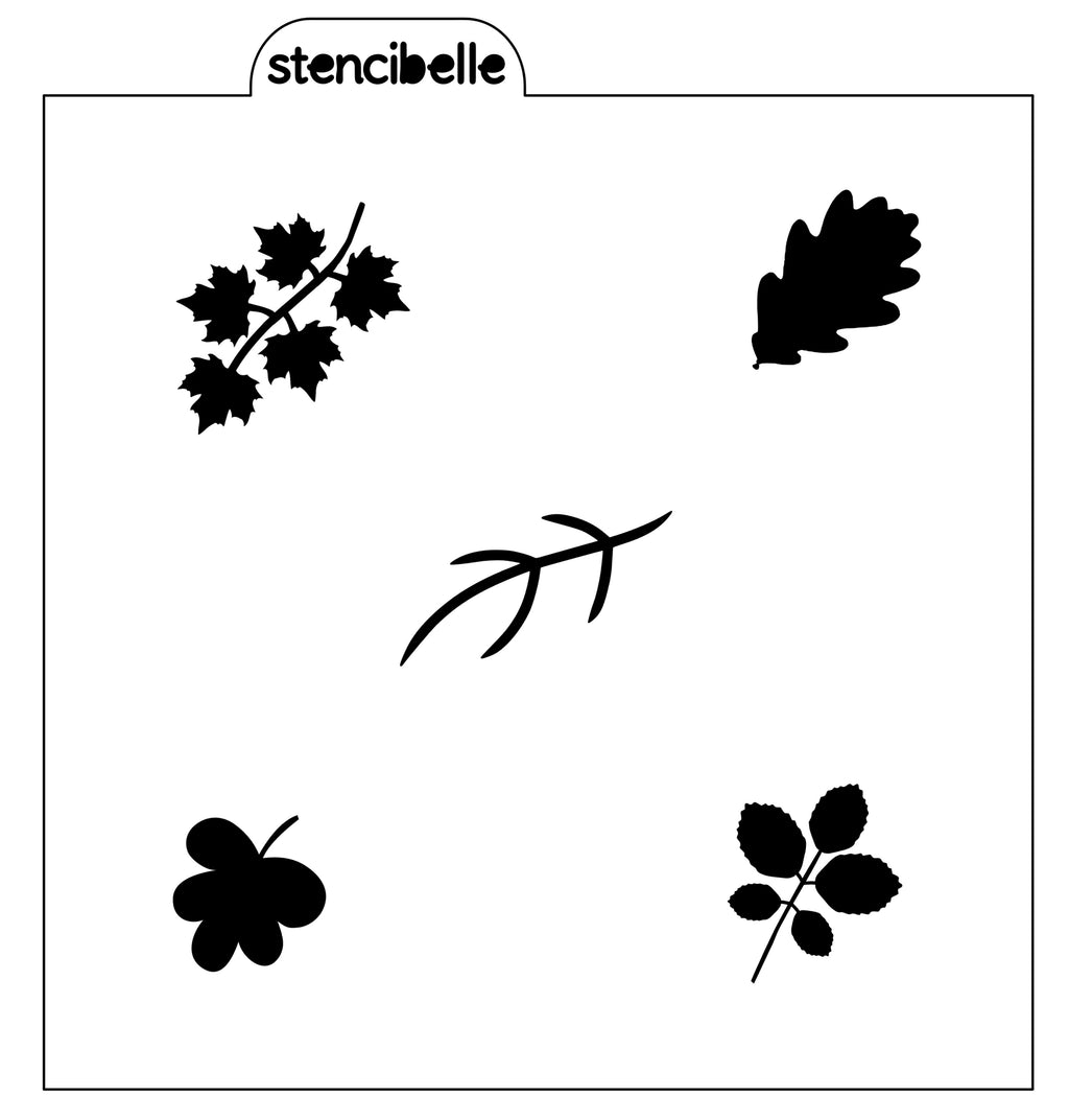 Fall Leaf Elements Stencil - NOW AVAILABLE IN 2 SIZES