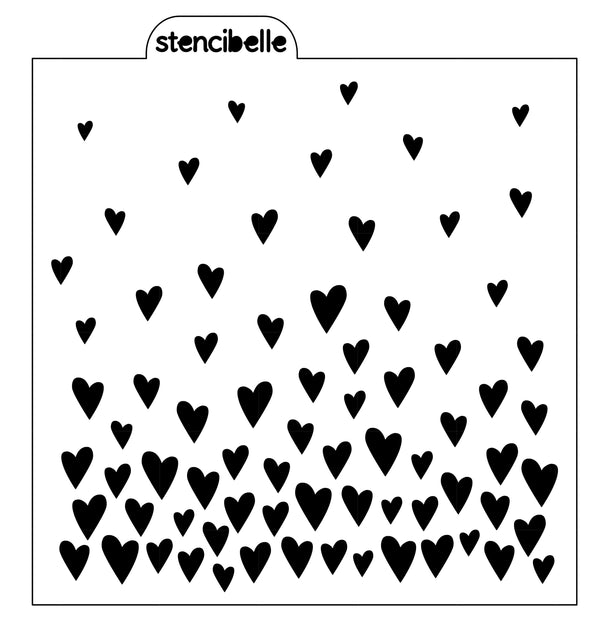 Floating Hearts Stencil