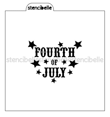 Fourth of July with Stars Stencil