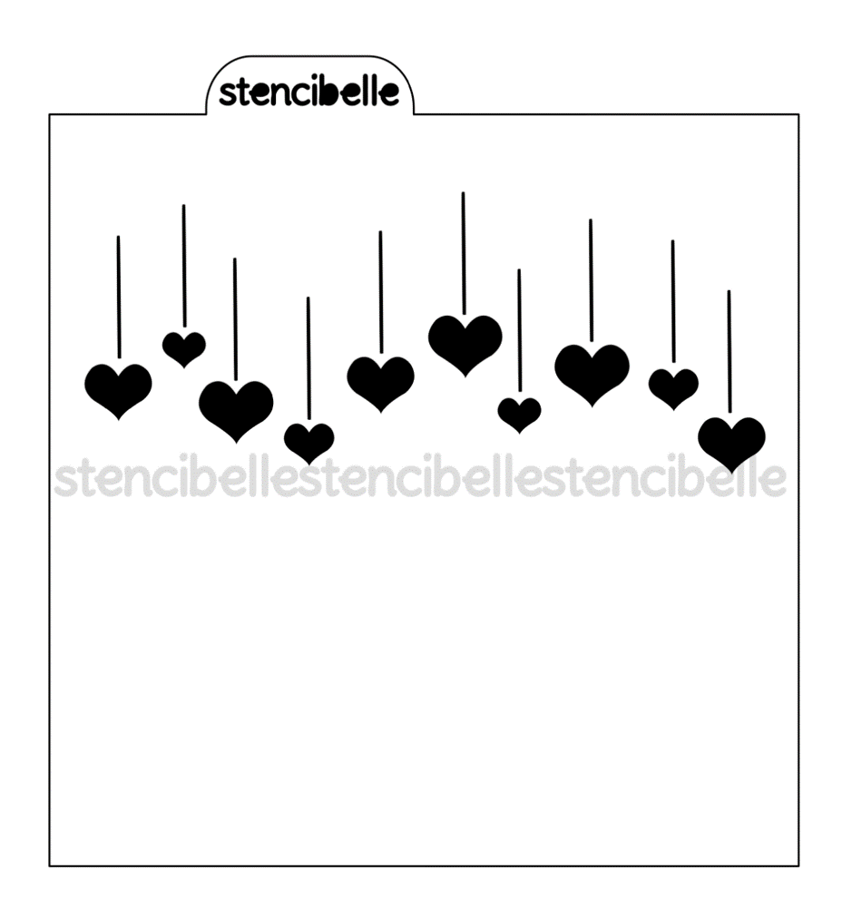 Hanging Hearts Stencil