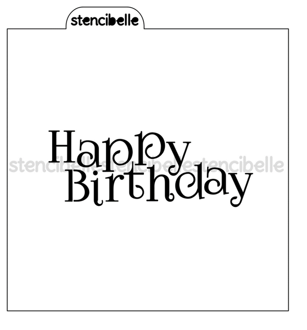 Happy Birthday Stencil - 3 sizes