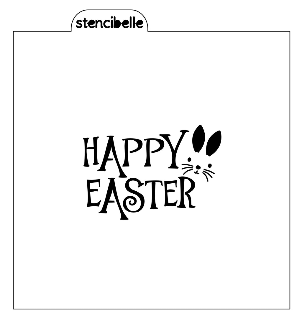 Happy Easter with Bunny Stencil