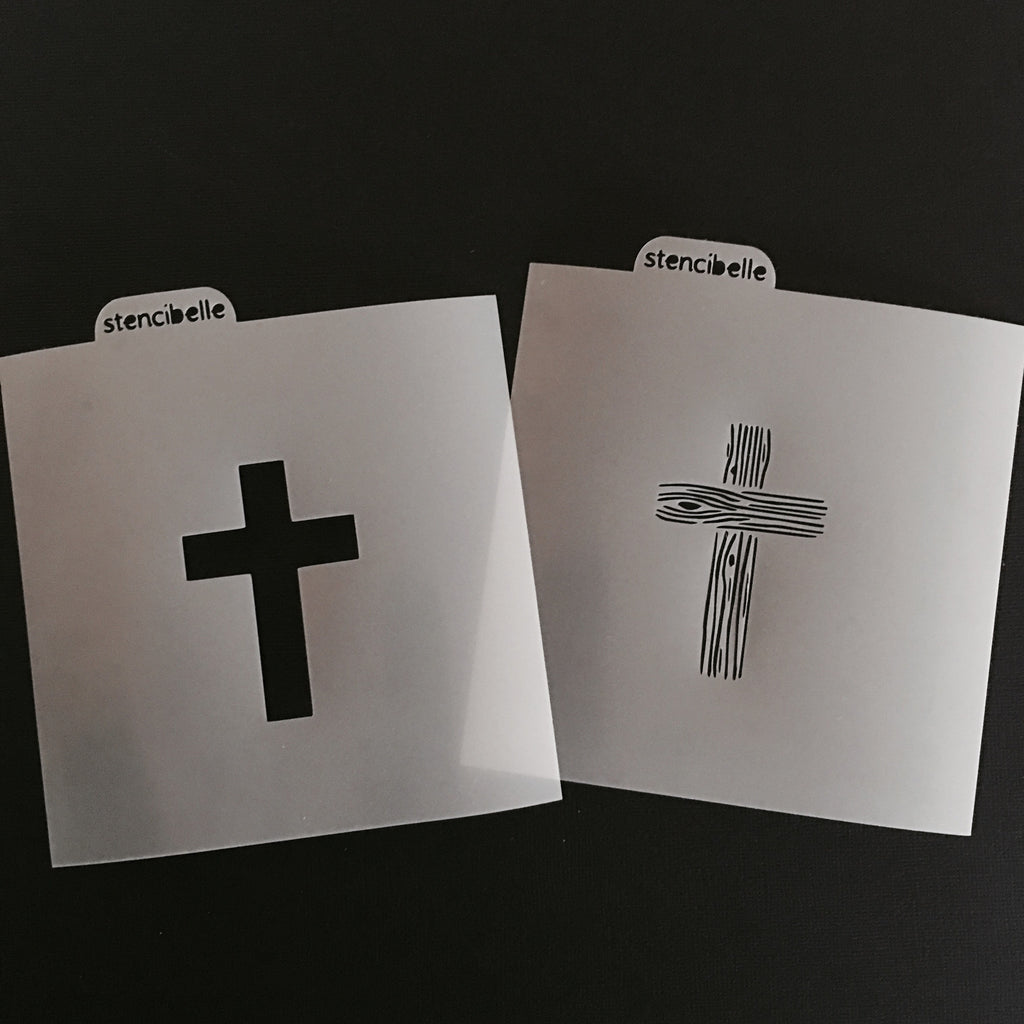 Wooden Cross - 2 Piece Stencil Set