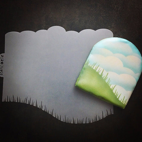 Clouds & Grass 3 Stencil