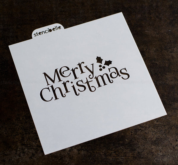 Merry Christmas with Holly Stencil - 3 sizes