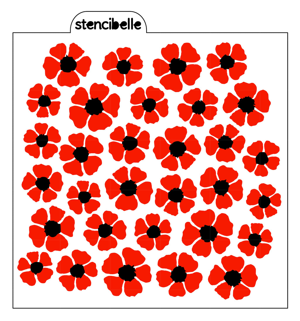 Poppies 2 Piece Stencil Set
