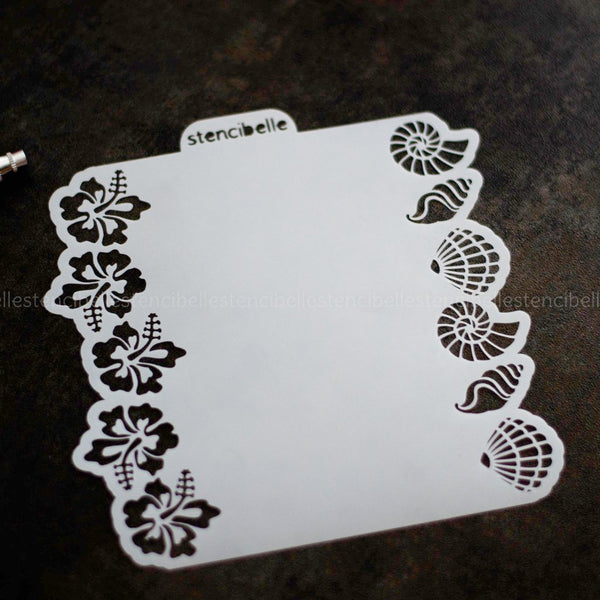 Shell & Hibiscus Double-Ended Stencil