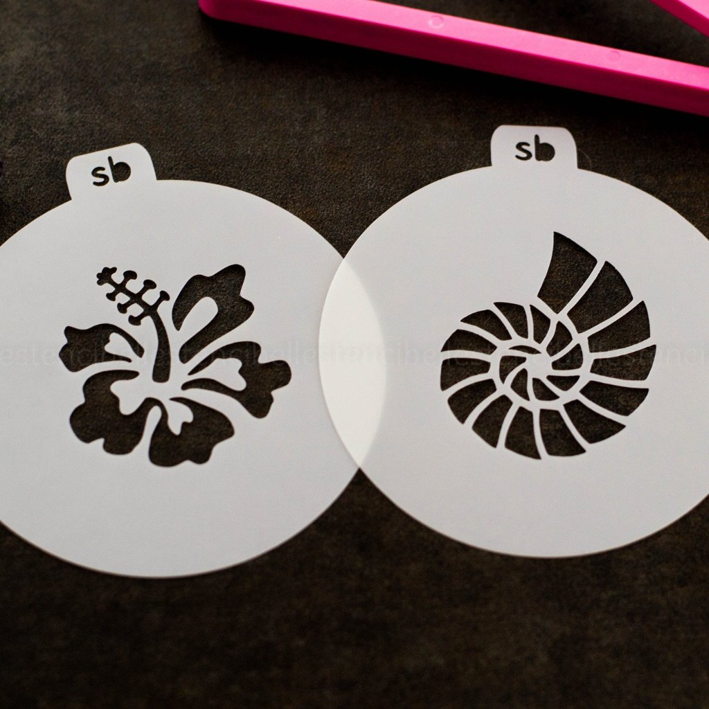 Shell & Hibiscus Mini Stencil Set