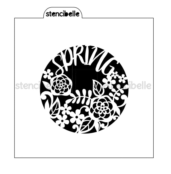 Spring Floral Circle Stencil - 2 Sizes Available