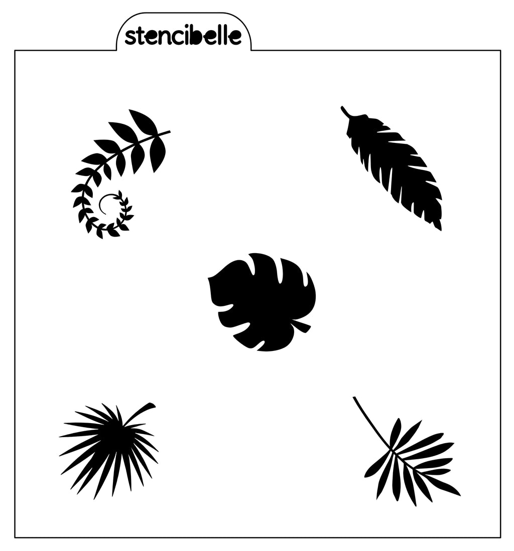 Tropical Leaf Elements Stencil - NOW AVAILABLE IN 2 SIZES