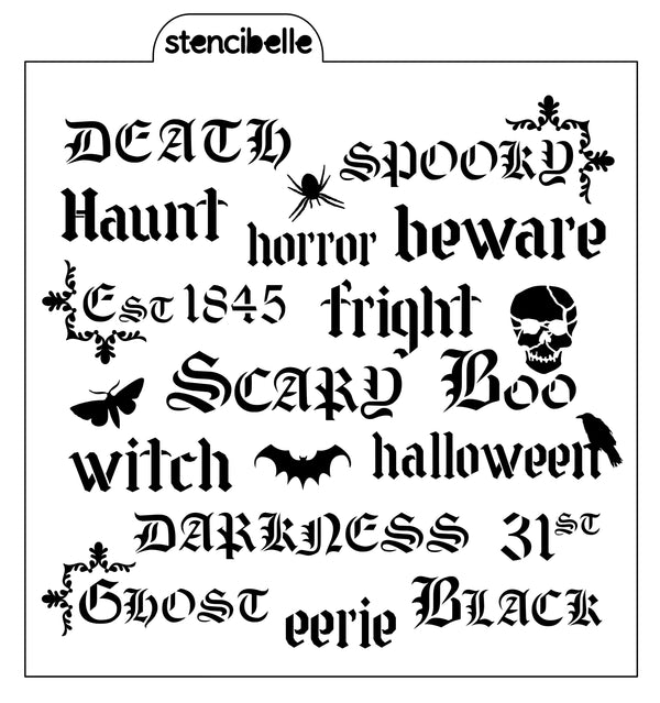 Vintage Halloween Words Stencil