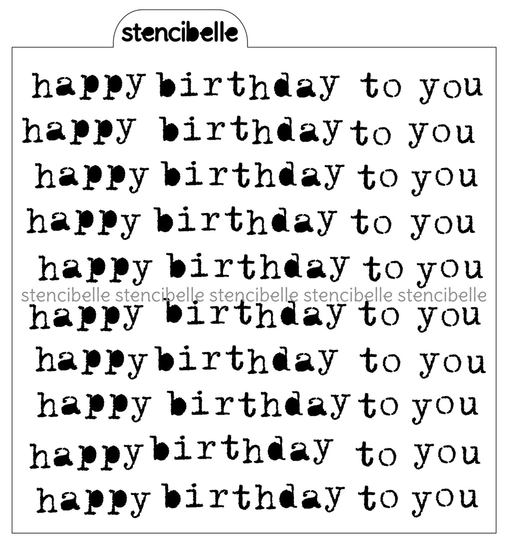 Vintage Typewriter - Happy Birthday Stencil -2 options available