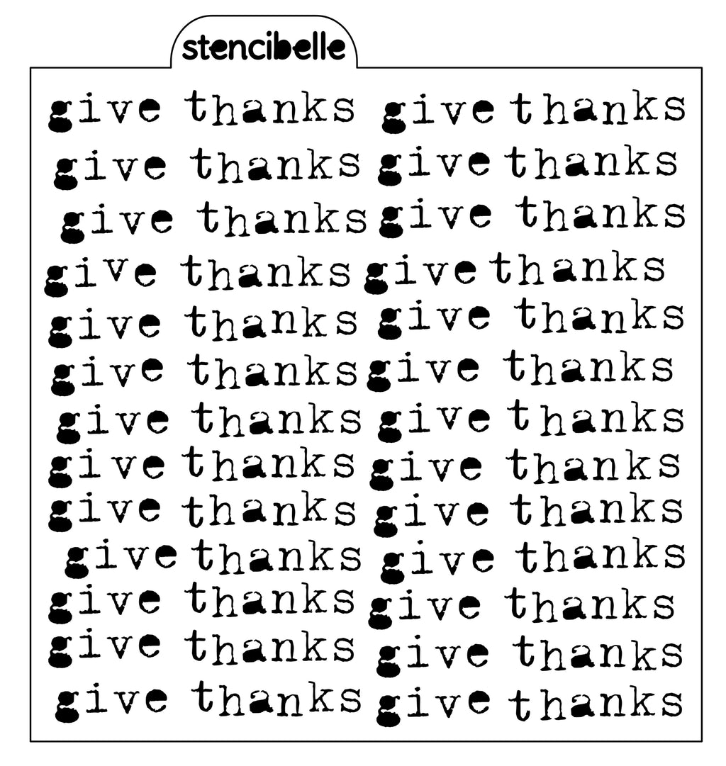 Vintage Typewriter - Give Thanks - Stencil