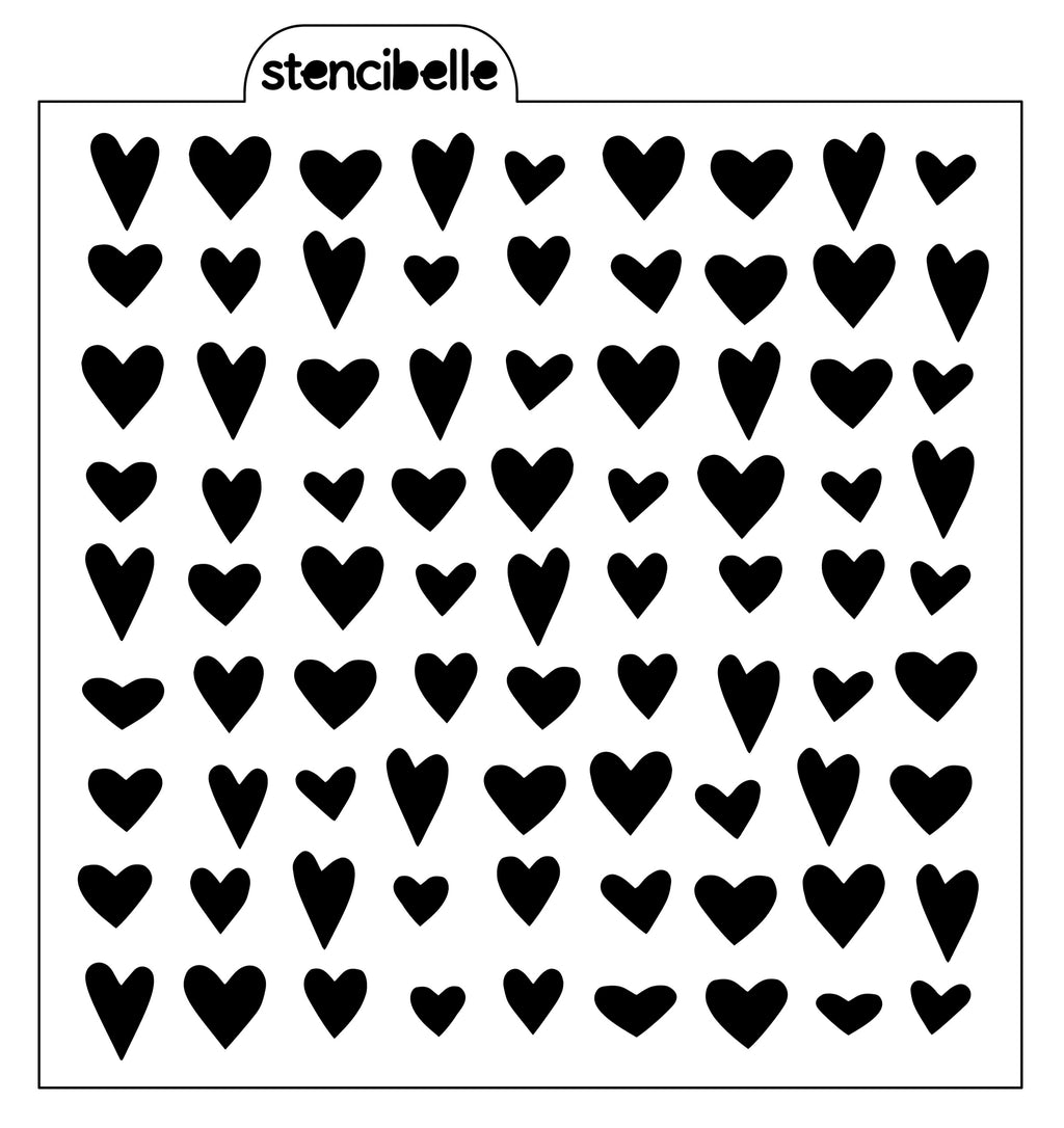 NEW Whimsical Heart Background Stencil