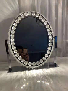 LED light K9 Crystal Mirror Dressing Table Mirror 50cm H Oval HW02861