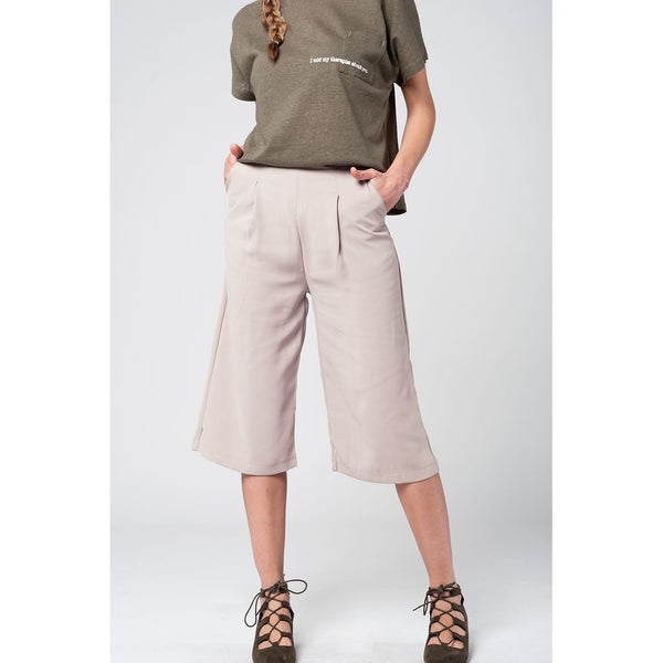 Tailored beige culotte with pockets