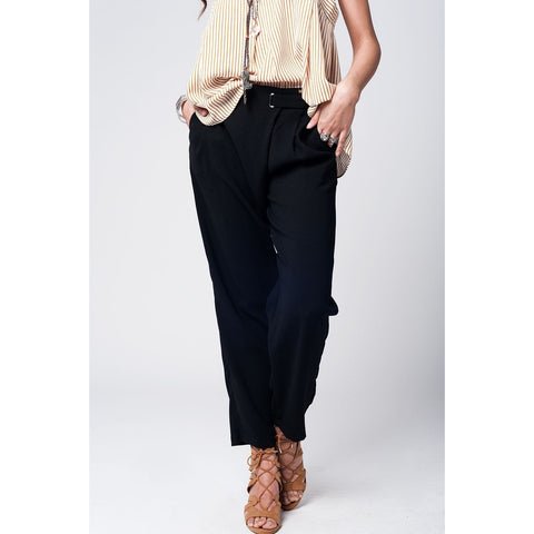 Black wide leg trousers with waist detail - Epethiya