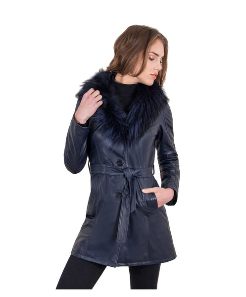 Women's Leather belted coat buttons fox fur blue color Stefany - Epethiya