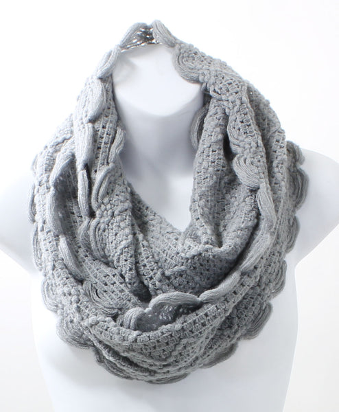 Scallop Edge Light Gray Winter Infinity Scarf - Epethiya