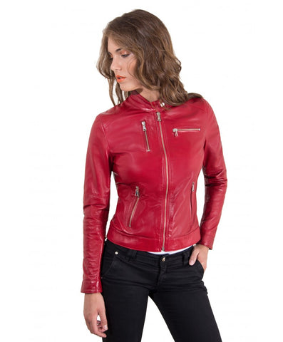 Women's Leather Jacket biker mao collar and zip to the sleeve red  Giulia - Epethiya
