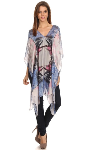 Womens Silk-Blend Lightweight Pull Over Poncho - Epethiya