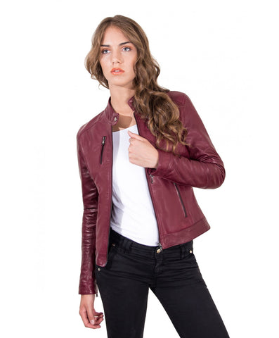 Women's Leather Jacket genuine soft leather biker korean collar green color Giulia - Epethiya