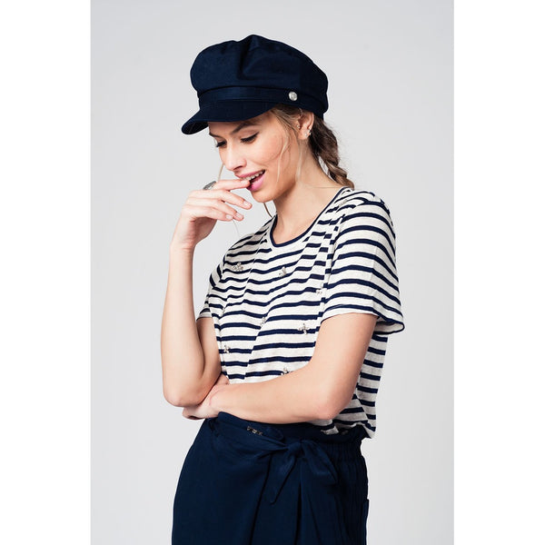 Navy striped t-shirt with strass stones details