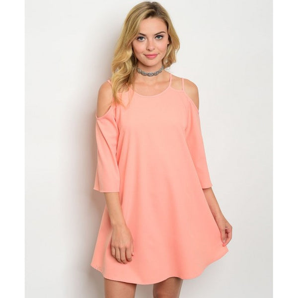 Women's Peach Cold Shoulder Tunic Dress - Epethiya