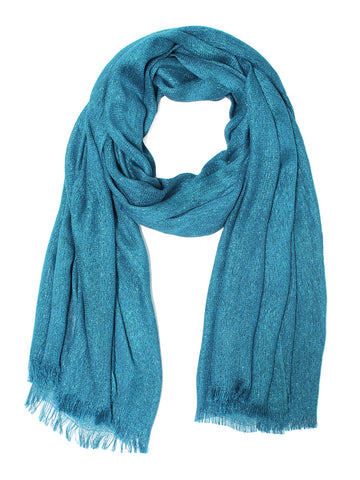 Blue Metallic Sparkle Lighweight Evening Wrap Shawl Scarf - Epethiya