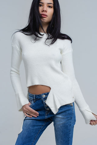 Cream knitted asymmetric sweater - Epethiya