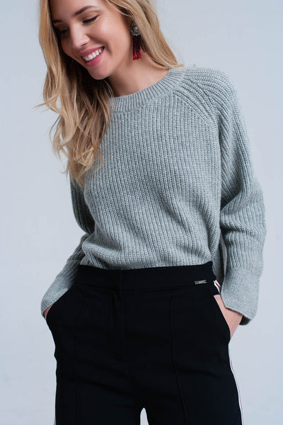 Gray knitted sweater with open side detail - Epethiya