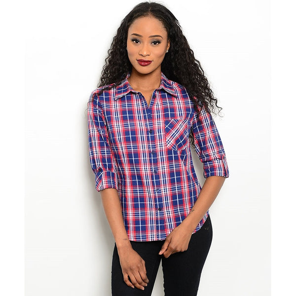 Women's Shirts Plaid  Button Down Flannel - Epethiya