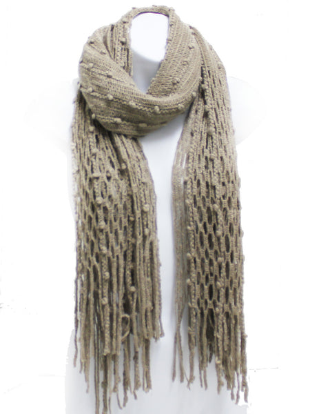 Khaki Winter Knit Fish Net Weave Oblong Scarf with Fringe - Epethiya