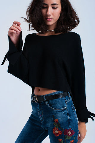 Black crop sweater with ribbons - Epethiya