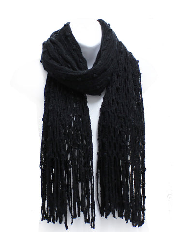 Black Winter Knit Fish Net Weave Oblong Scarf with Fringe - Epethiya