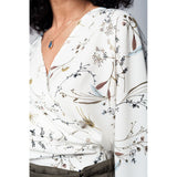 Ecru kimono blouse with leaves print - Epethiya