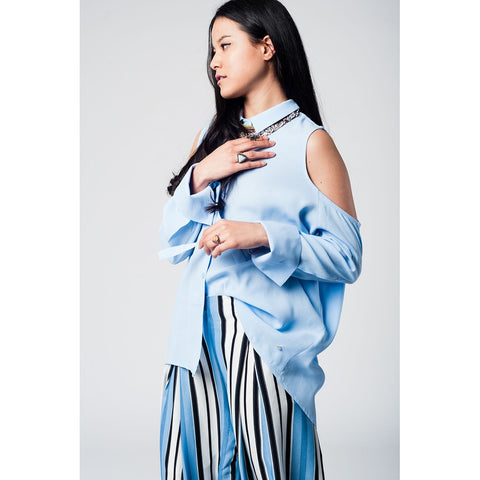 Blue cold shoulder long shirt - Epethiya