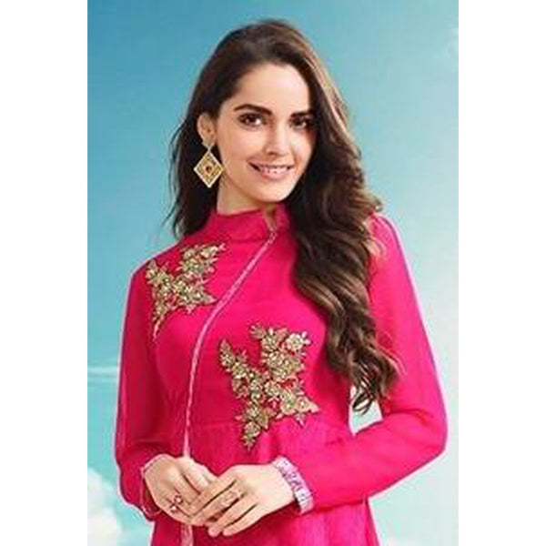 Gethuda Tumba Embroidered Hot Pink Floral Georgette Kurti/Tunic