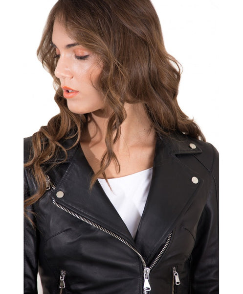 Women's Leather Belt Jacket soft lamb leather biker black color Chiodo - Epethiya