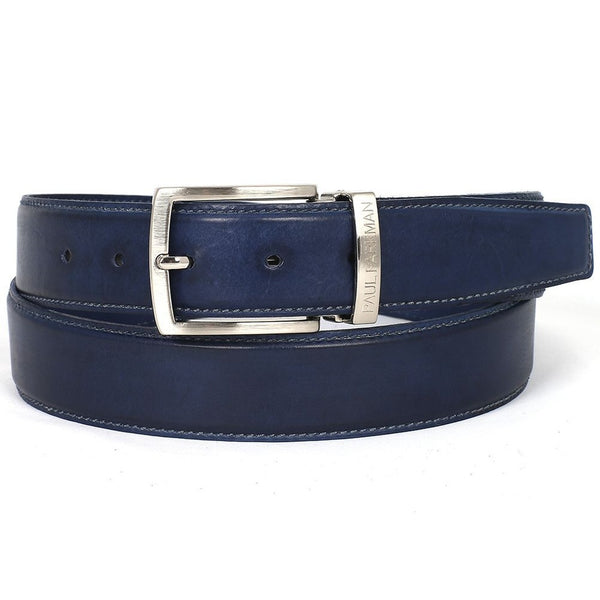 PAUL PARKMAN Men's Leather Belt Hand-Painted Navy (ID#B01-NVY) - Epethiya
