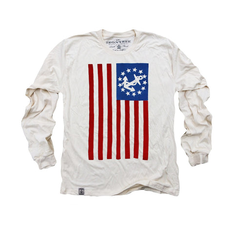 USA Yacht Ensign: Organic Fine Jersey Long Sleeve T-Shirt in Unbleached Natural - Epethiya
