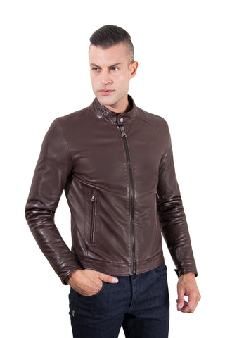 Men's Leather Jacket korean collar two pockets dark brown color Hamilton - Epethiya