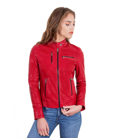 Women's Leather Jacket Biker Lamb Leather Giulia - Epethiya